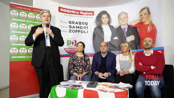 """Samorì, Zoffoli e Grasso, i tre candidati Pd con Zingaretti: """"Forlì città ferita, da qui si parte per il riscatto"""""""