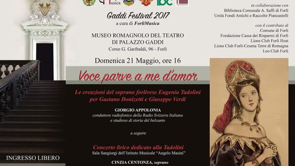 Ultimo atto per il Gaddi Festival: omaggio al soprano forlivese Tadolini