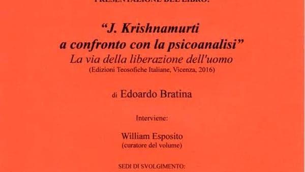 """A Casa Saffi la presentazione del libro  """"Krishnamurti a confronto con la psicoanalisi"""""""