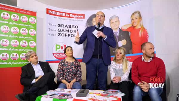 """Zingaretti a Forlì: """"Si sceglie tra la proposta distruttiva della Lega e la difesa dei territori di Bonaccini"""""""