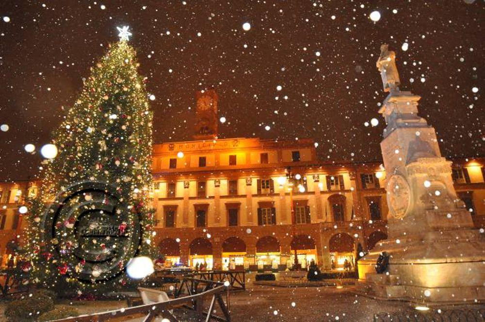 Foto Con La Neve Di Natale.L Accensione Dell Albero Di Natale Con La Neve