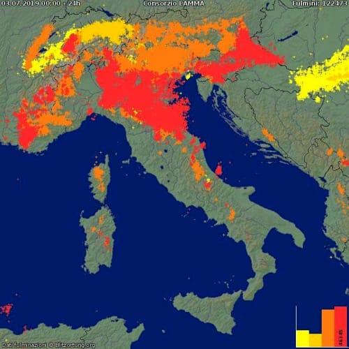 La mappa dei fulmini del 3 luglio 2019-2