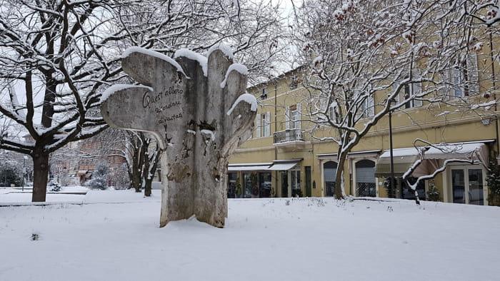 Nevicata in centro storico a Forlì, 27-02-2018 (foto Forlitoday)